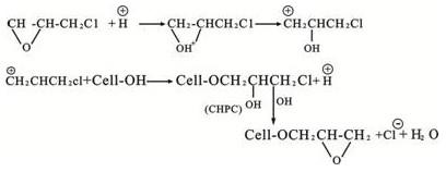 氯丙烷生成环氧化纤维素纤维,这是环氧氯丙烷分子中的氧原子非常活泼图片